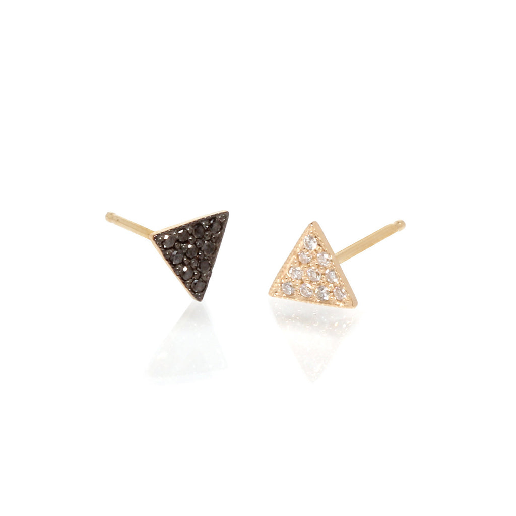 14k pave mix matched triangle studs