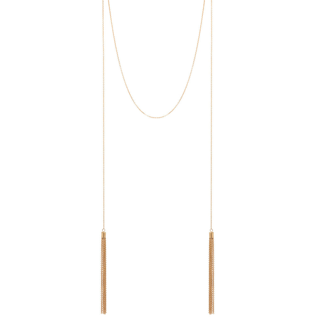 14k faux wrap around tassel necklace
