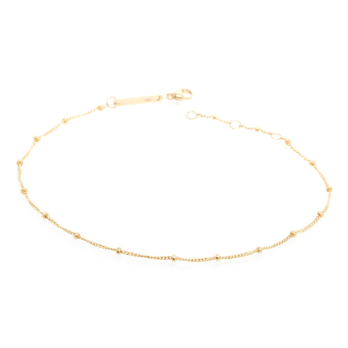 Zoë Chicco 14kt Yellow Gold Curb and Bead Chain Anklet