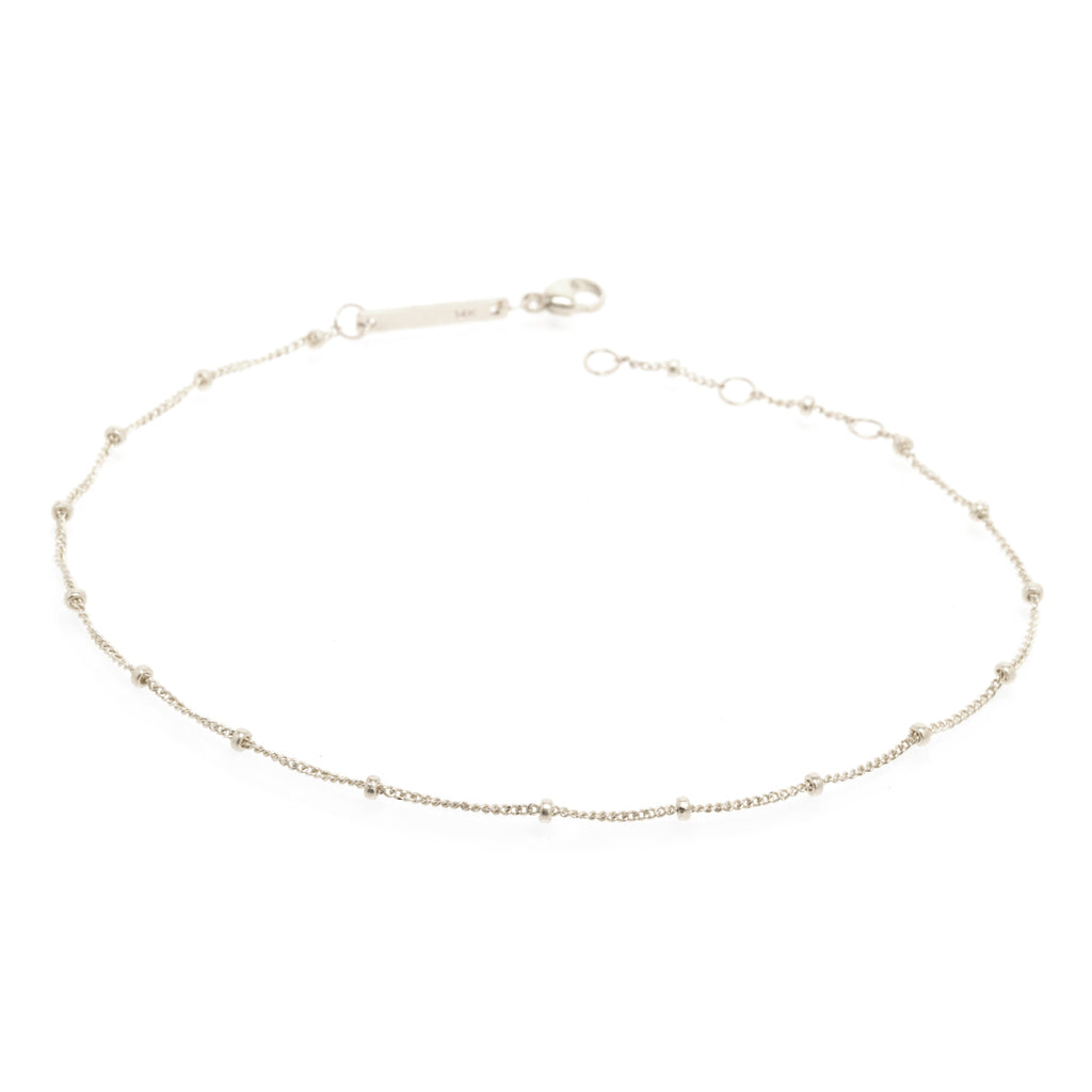 14k curb and bead chain bracelet