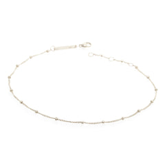 Zoë Chicco 14kt White Gold Curb and Bead Chain Anklet