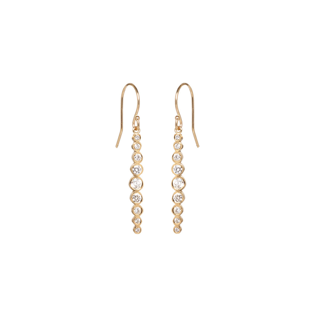 14k graduated diamond drop earrings