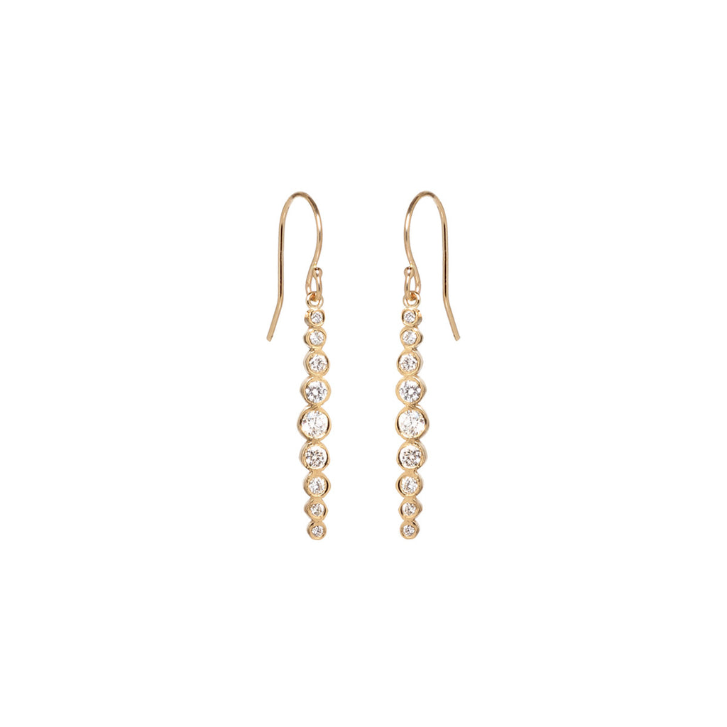 Zoë Chicco 14kt Yellow Gold Graduated White Diamond Drop Earrings