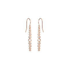 Zoë Chicco 14kt Rose Gold Graduated White Diamond Drop Earrings