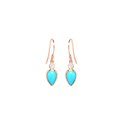 14k turquoise teardrop diamond earrings
