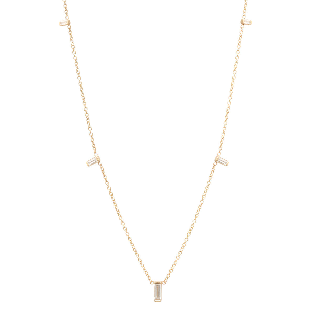 Zoë Chicco 14kt Yellow Gold Graduated Vertical Baguette Diamond Necklace