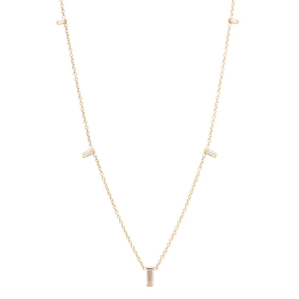 14k Graduated Vertical Baguette Necklace