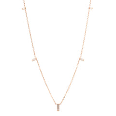 Zoë Chicco 14kt Rose Gold Graduated Vertical Baguette Diamond Necklace