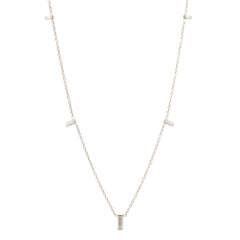 Zoë Chicco 14kt White Gold Graduated Vertical Baguette Diamond Necklace