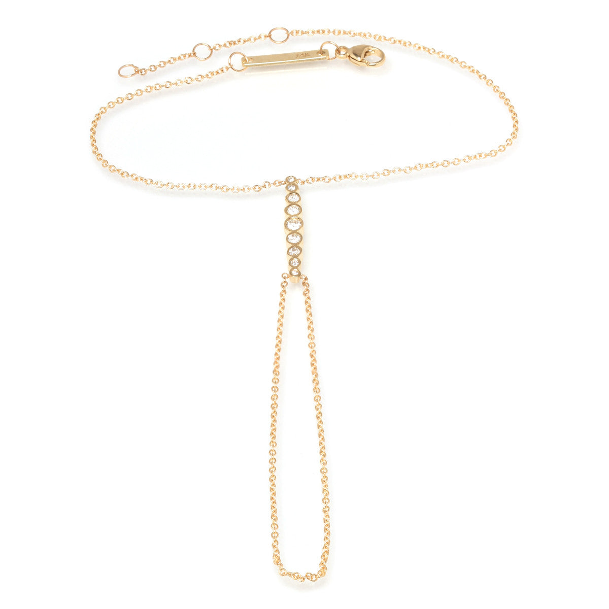 Zoë Chicco 14kt Yellow Gold Graduated Bezel Set Diamond Hand Chain