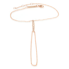 Zoë Chicco 14kt Rose Gold Graduated Bezel Set Diamond Hand Chain
