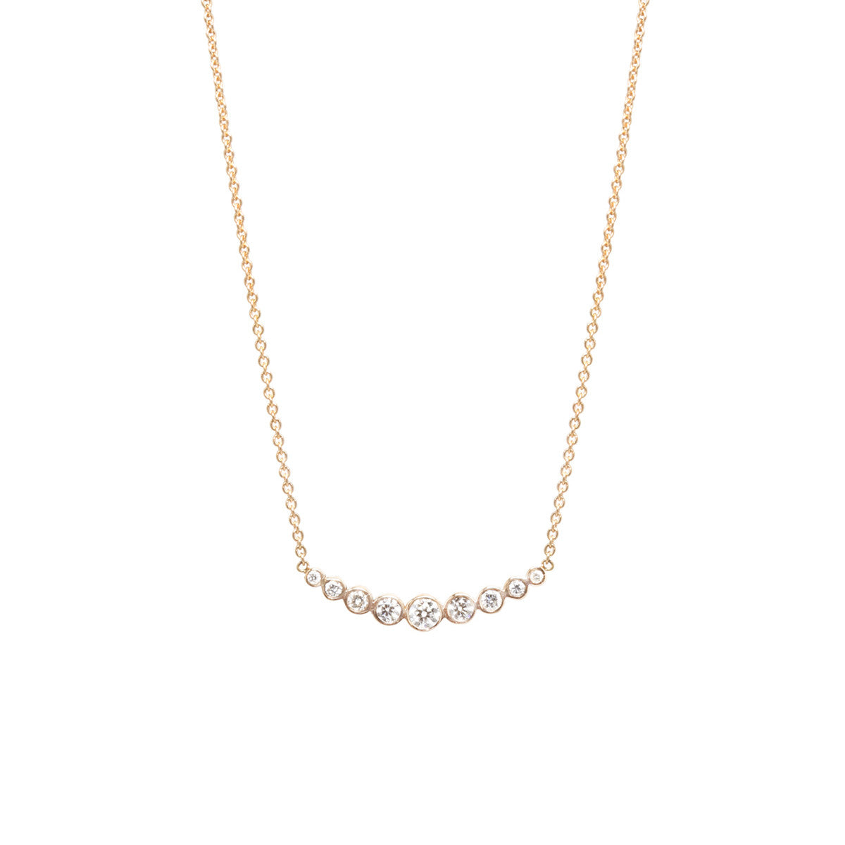 14k graduated curved bezel bar necklace