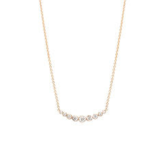 Zoë Chicco 14kt Yellow Gold Graduated Curved Bezel Set Diamond Bar Necklace