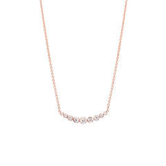 Zoë Chicco 14kt Rose Gold Graduated Curved Bezel Set Diamond Bar Necklace