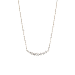 Zoë Chicco 14kt White Gold Graduated Curved Bezel Set Diamond Bar Necklace