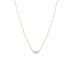 14k small graduated bezel diamond necklace