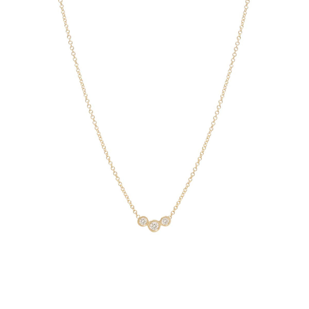 Zoë Chicco 14kt Yellow Gold Graduated 3 Bezel Set Diamond Necklace