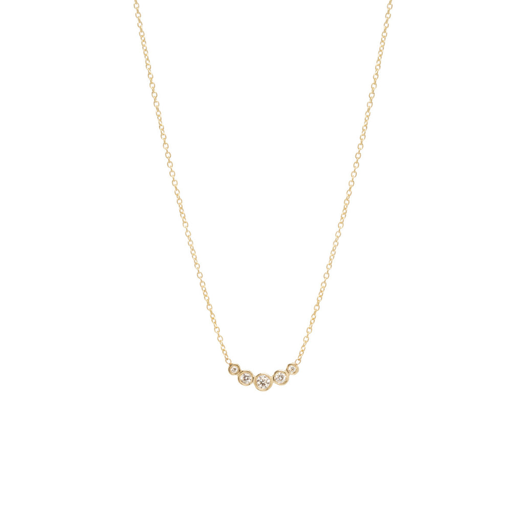Zoë Chicco 14kt Yellow Gold Graduated 5 Bezel Set Diamond Necklace