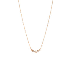 Zoë Chicco 14kt Rose Gold Graduated 5 Bezel Set Diamond Necklace