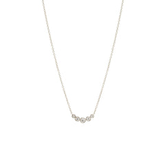 Zoë Chicco 14kt White Gold Graduated 5 Bezel Set Diamond Necklace