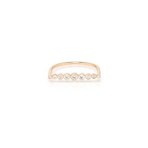 14k graduated bezel bar ring