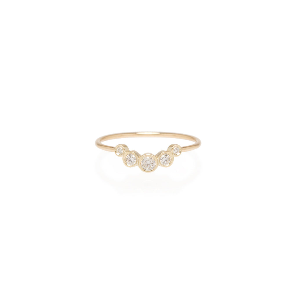 14k graduated 5 bezel diamond ring