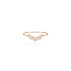 Zoë Chicco 14kt Rose Gold Graduated 5 Bezel Set Diamond Ring