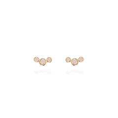 14k small graduated bezel diamond studs