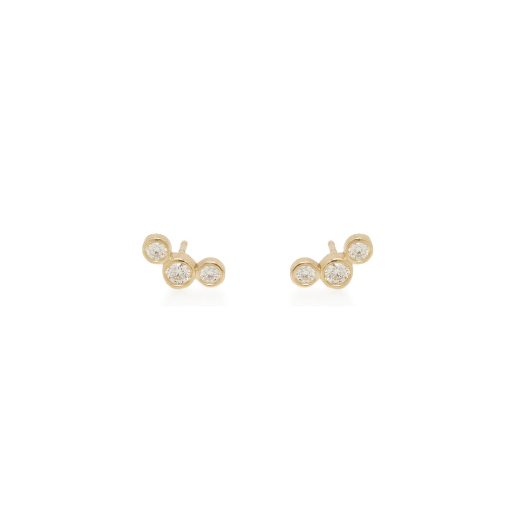 14k graduated bezel diamond studs