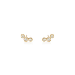 Zoë Chicco 14kt Yellow Gold Graduated 3 Bezel Set Diamond Stud Earrings