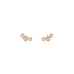 Zoë Chicco 14kt Rose Gold Graduated 3 Bezel Set Diamond Stud Earrings