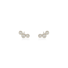 Zoë Chicco 14kt White Gold Graduated 3 Bezel Set Diamond Stud Earrings