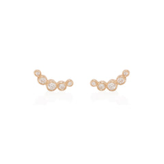 Zoë Chicco 14kt Rose Gold Graduated 5 Bezel Set Diamond Stud Earrings