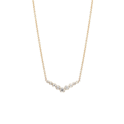 14k graduated bezel set V necklace