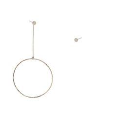 14k mixed single large drop circle stud charm and disc studs