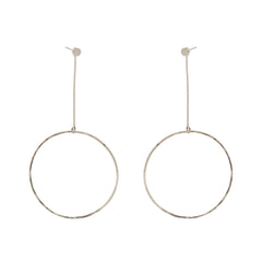 14k large drop circle stud charms pair with round disc studs