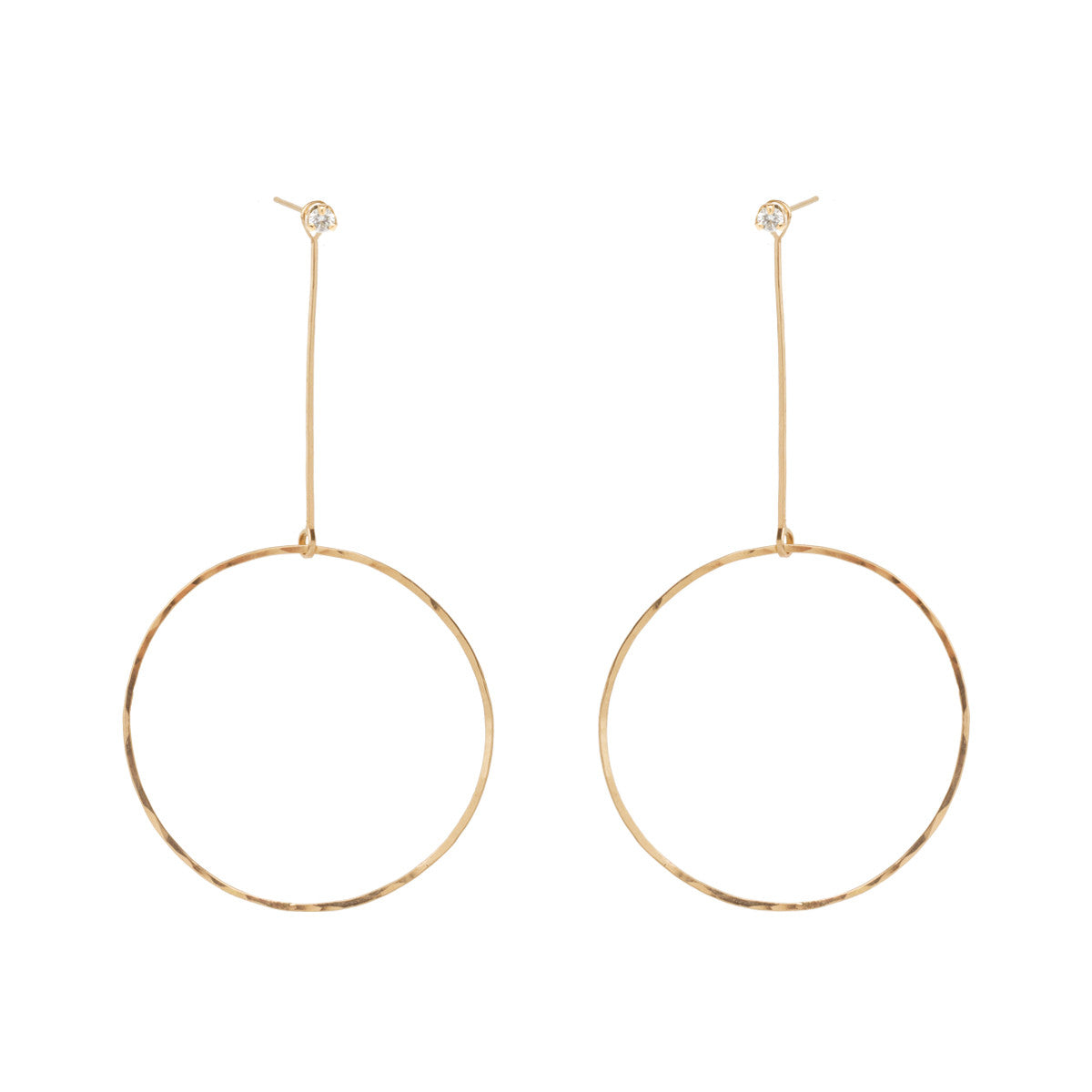 Zoë Chicco 14kt Gold Large Drop Circle Stud Charms with Diamond Prong Studs