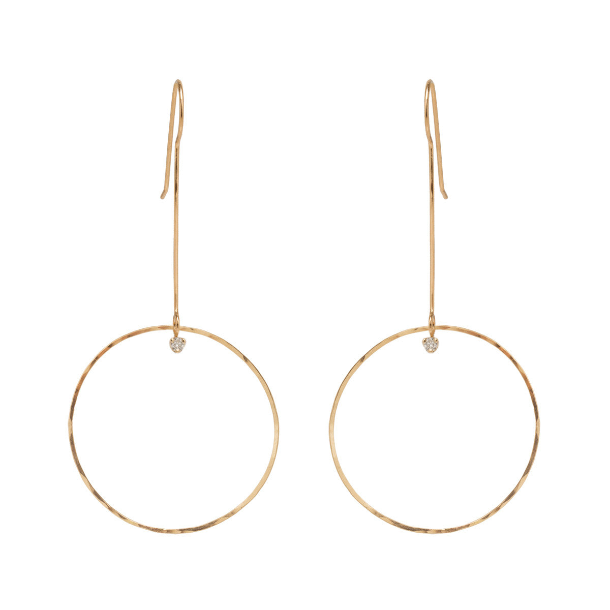 Zoë Chicco 14kt Yellow Gold Large Drop Circle Earrings with Prong Set Diamonds