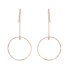 14k large drop circle earrings with prong set diamonds