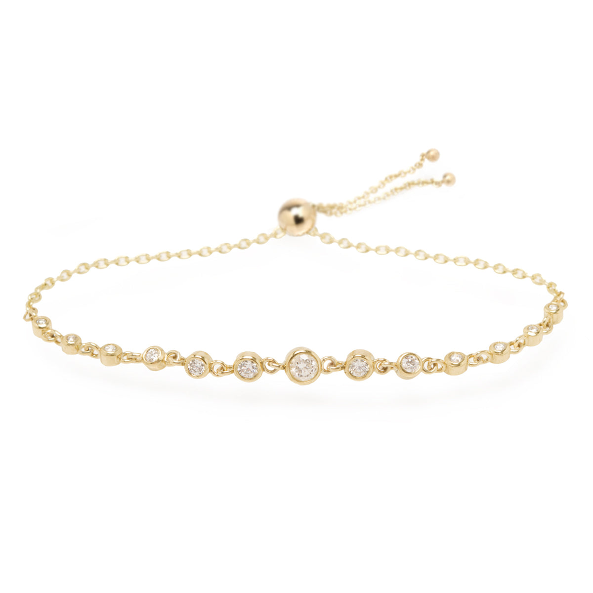 14k linked graduated diamond tennis bolo bracelet