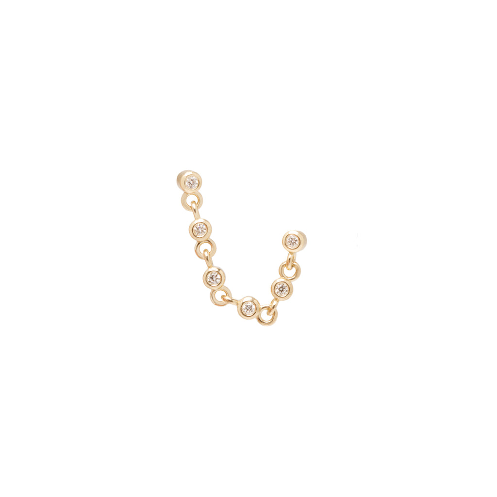 14k eternity bezel chain double piercing stud earring