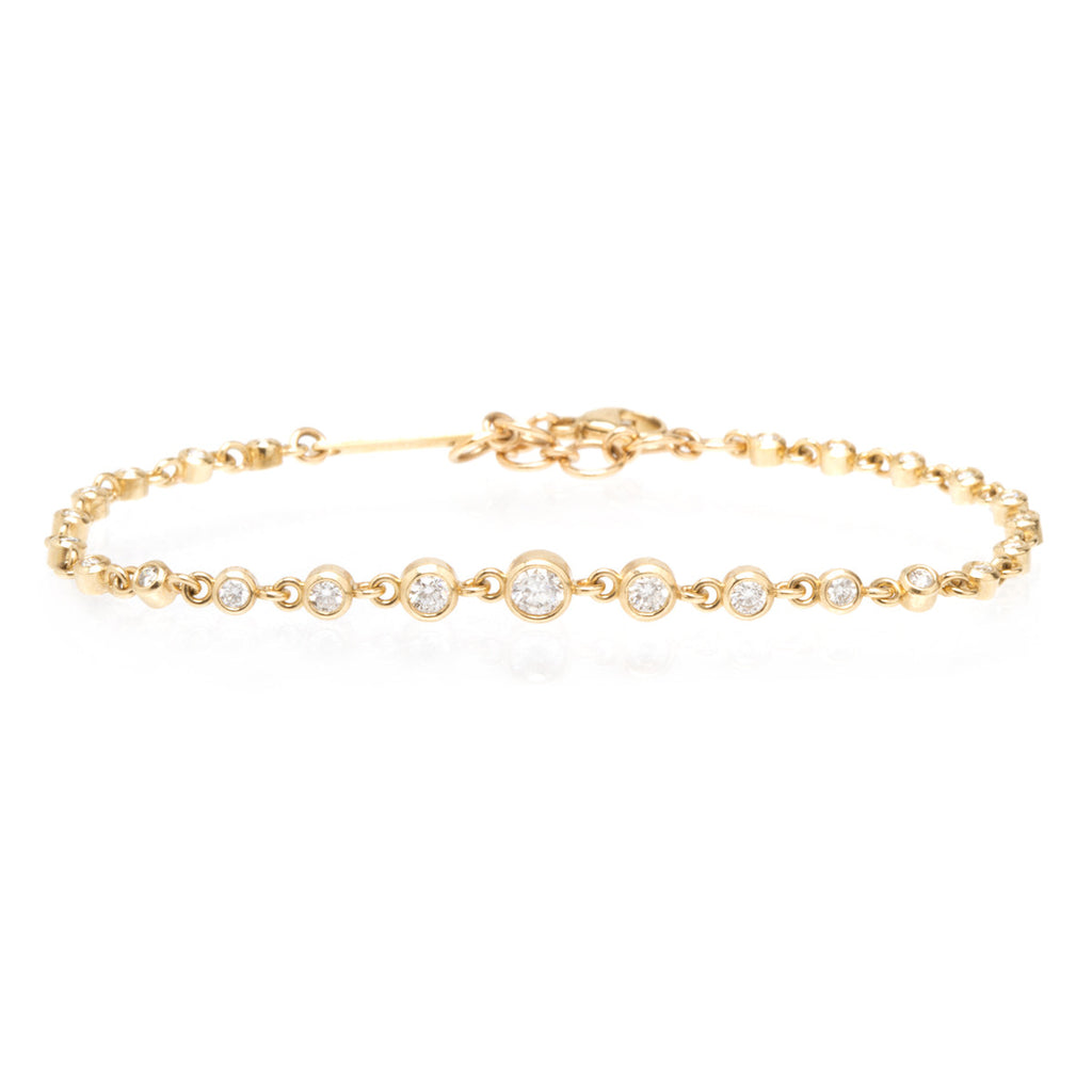 Zoë Chicco 14kt Yellow Gold Bezel Set White Diamond Eternity Bracelet