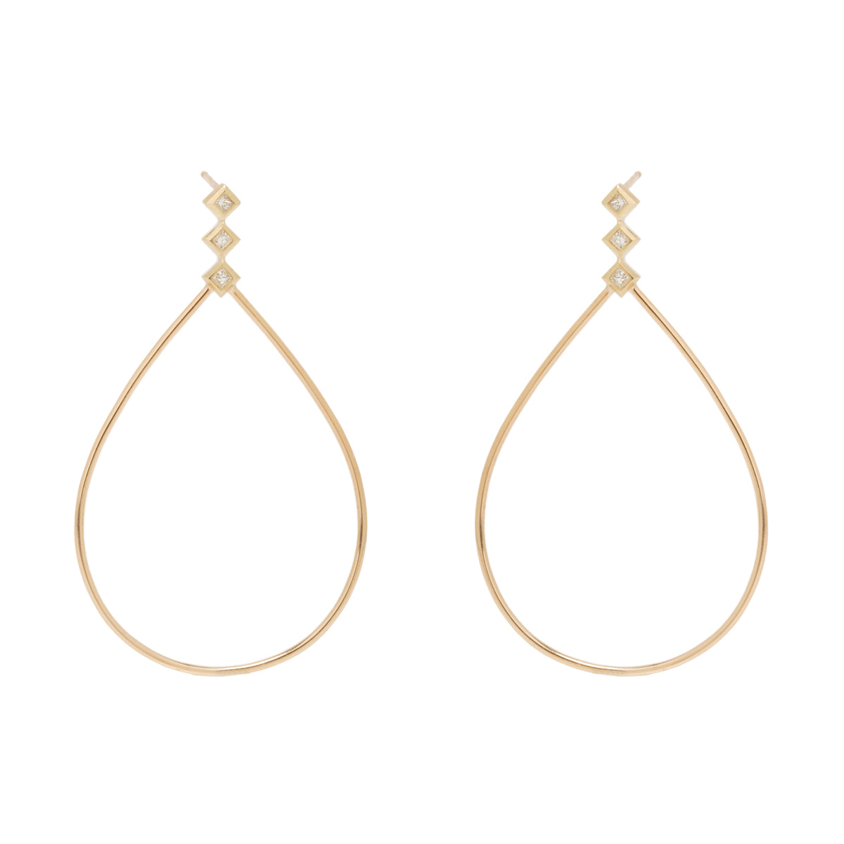 14k large teardrop princess diamond post earrings