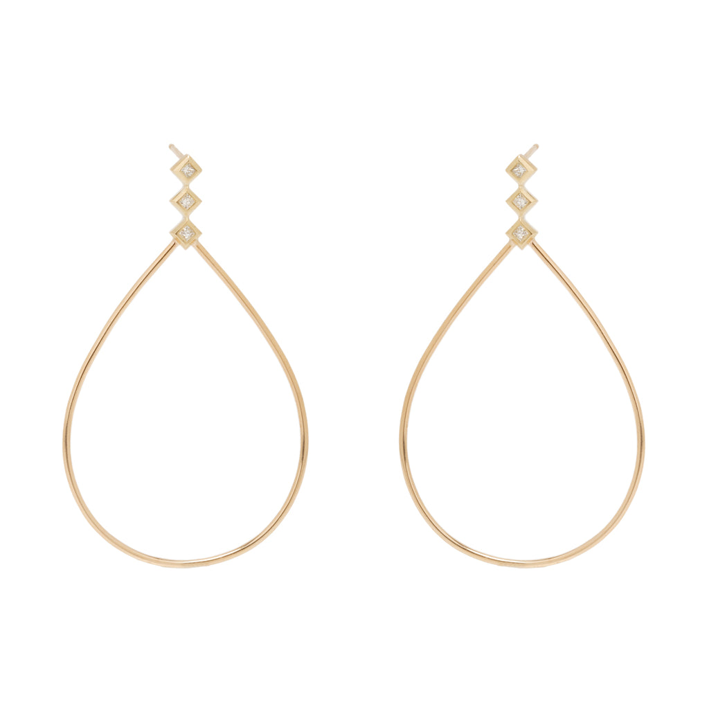 Zoë Chicco 14kt Yellow Gold Large Teardrop Princess Diamond Post Earrings