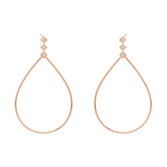 Zoë Chicco 14kt Rose Gold Large Teardrop Princess Diamond Post Earrings