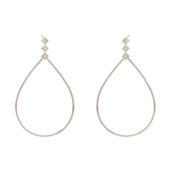 Zoë Chicco 14kt White Gold Large Teardrop Princess Diamond Post Earrings