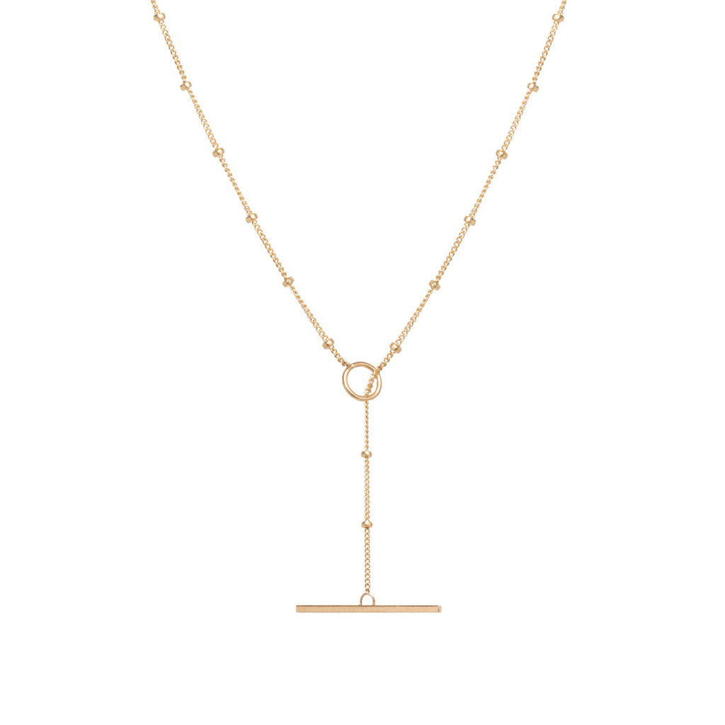 14k satellite chain toggle necklace