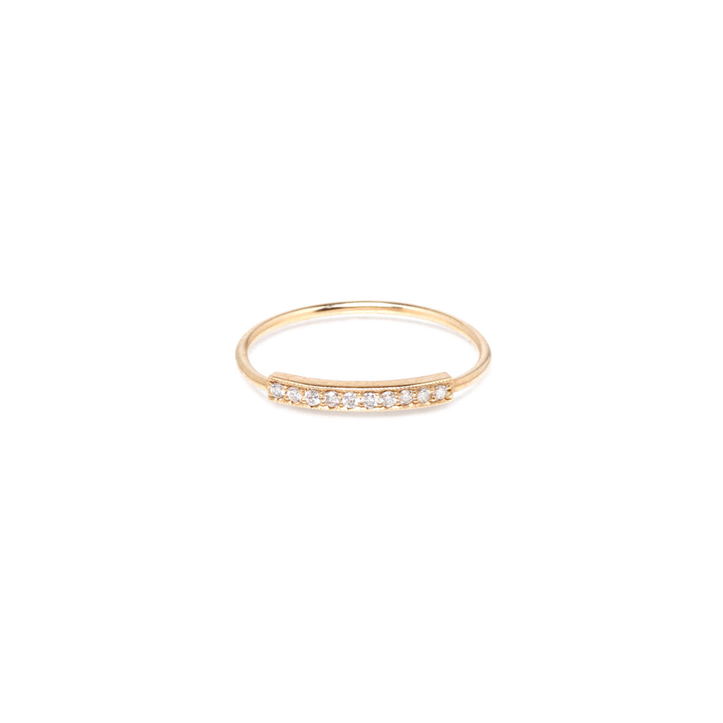 Zoë Chicco 14kt Yellow Gold Horizontal Diamond Pave Bar Ring
