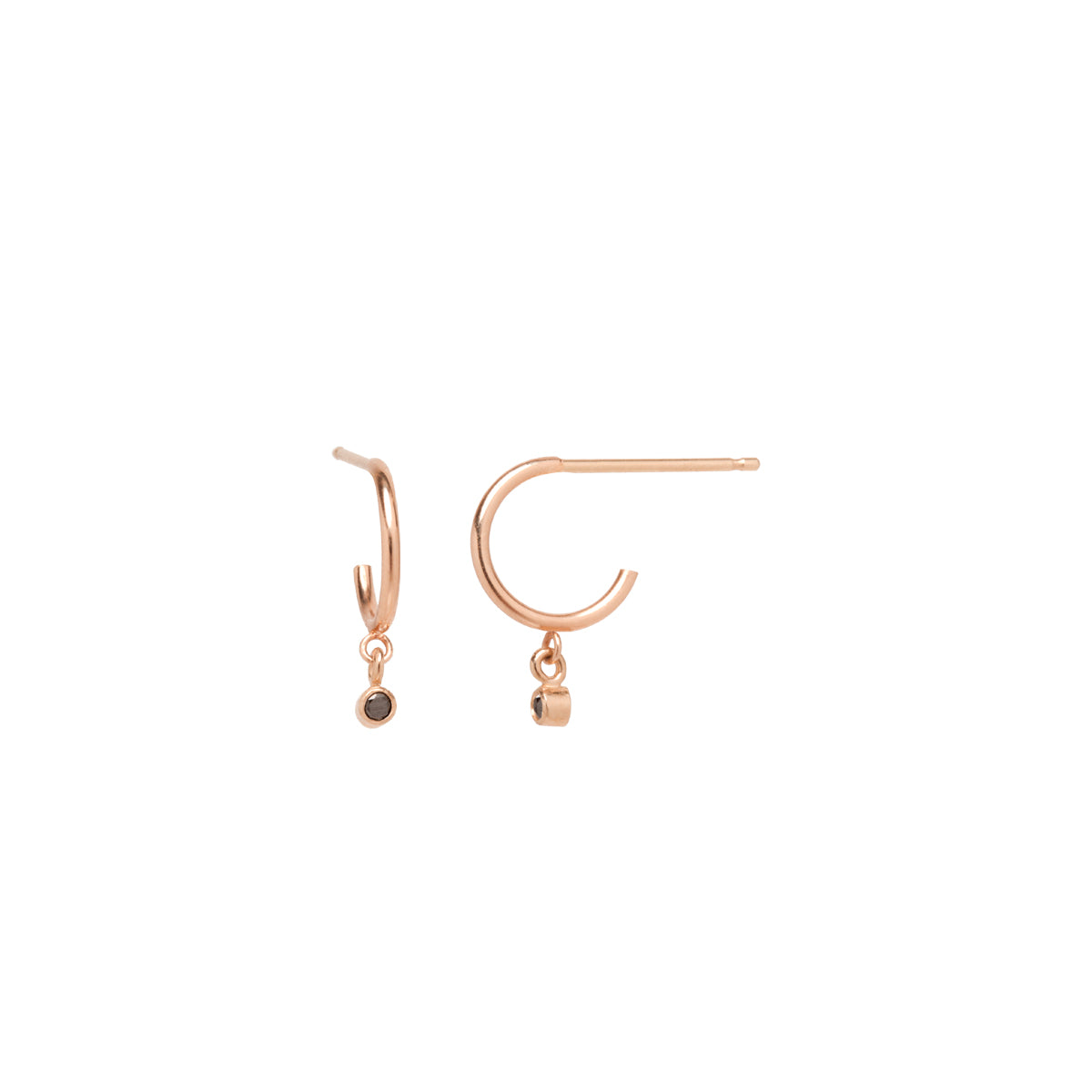 Zoë Chicco 14kt Rose Gold Black Diamond Dangle Thin Huggie Hoop Earring