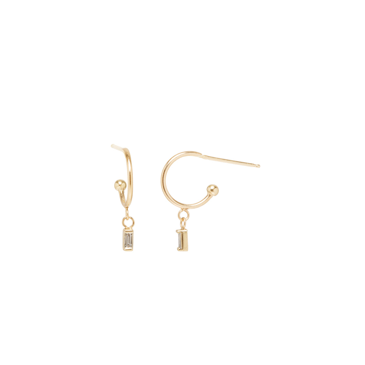 Zoë Chicco 14kt Yellow Gold White Baguette Diamond Thin Huggie Hoop Earrings